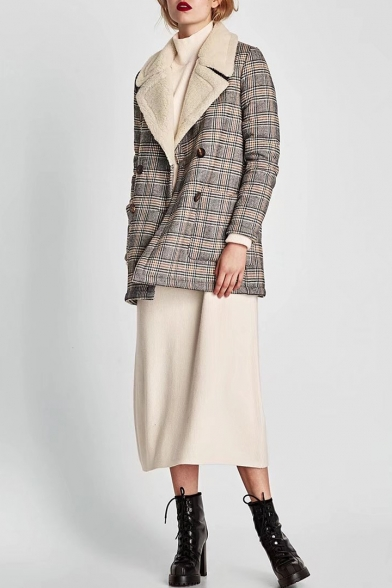 Long Stylish Plaid Notched Classic Lapel Coat New Sleeve qU8wBnxOxa