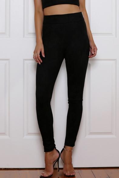 New Stylish Zip Fly Side Simple Plain Skinny Pants