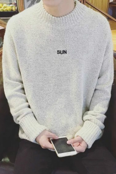 Letter Plain Sweater Embroidered Simple Long Sleeve Pullover gUBRq