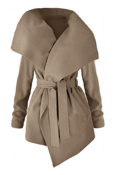 Winter's Fashion Over-Sized Collar Long Sleeves Bow-Front Asymmetric Hem Midi Coat