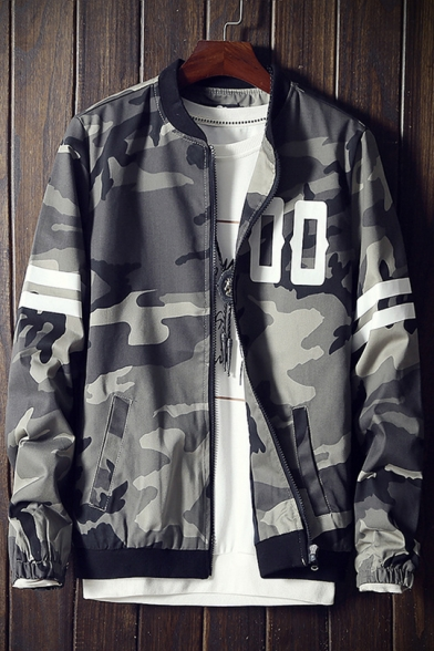 Long up Pockets Letter Baseball Sleeve Camouflaged Printed Striped with Zip Jacket 1tSqx6