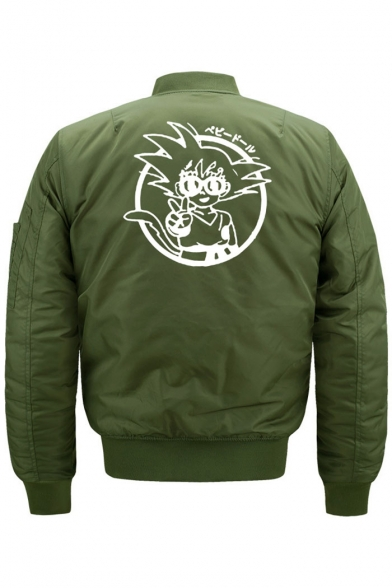 Long Up Zippered Cartoon Stand Print Bomber Jacket Collar Sleeve ST44XgZUw