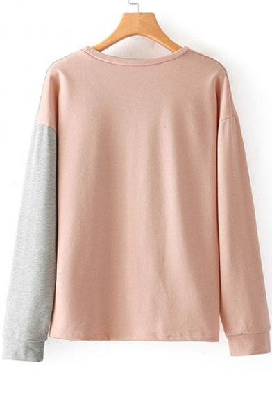 Neck Block Embroidered Pullover Round Rose Sleeve Long Sweatshirt Color Chic wxfHqptXw