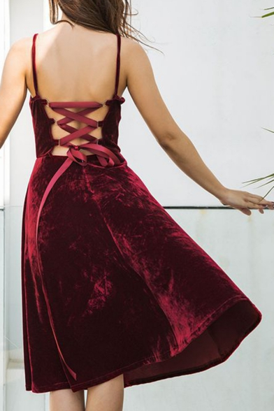 Chic Simple Plain Crisscross Back Spaghetti Straps A-line Velvet Midi Dress
