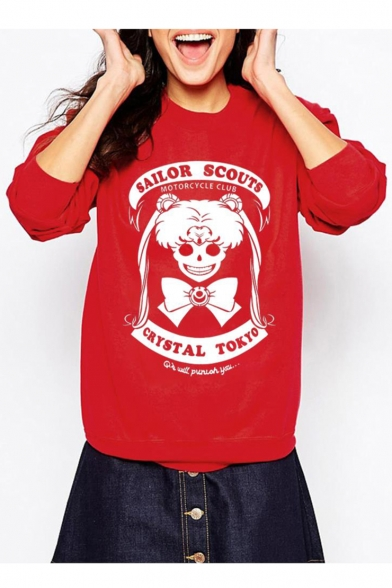 Printed Letter Sweatshirt Cool Pullover Long Skull Sleeves Round Neck wvqvXYR
