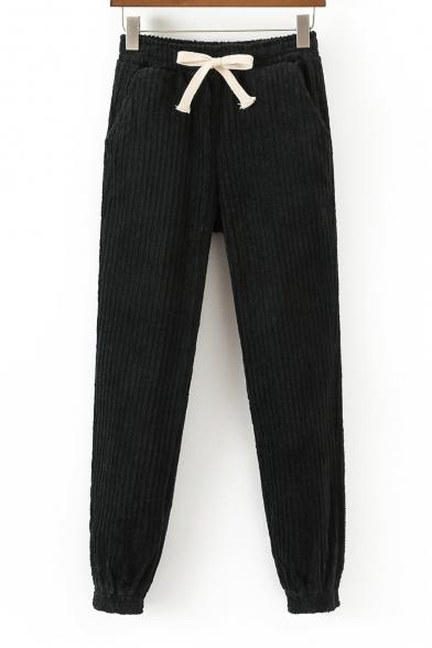 Fashion Drawstring Elastic Waist Simple Plain Harem Pants