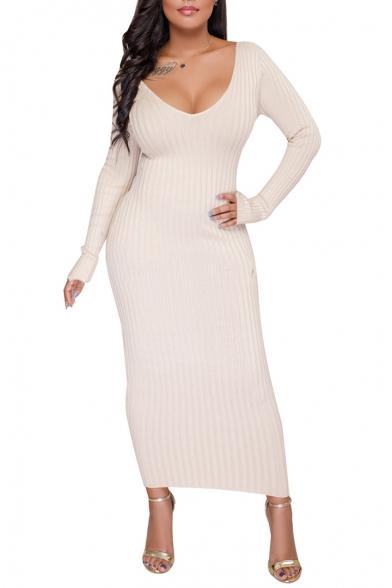 Fashion Sexy V-Neck Long Sleeve Bodycon Maxi Dress