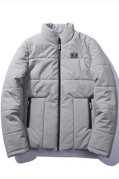 Fashion Stand-Up Collar Long Sleeve Plain Zipper Unisex Padded Coat