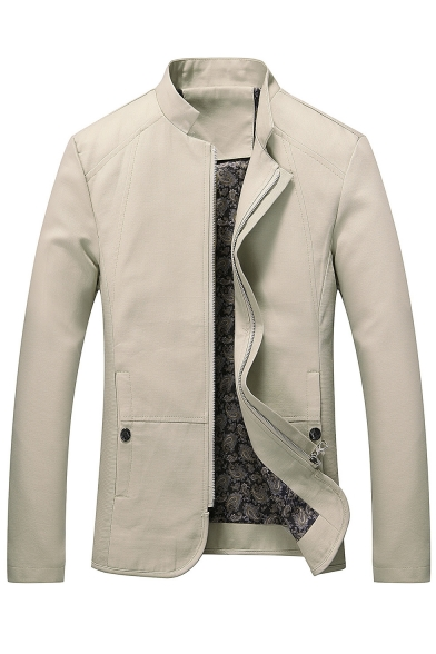 Fashion Stand-Up Collar Zipper Long Sleeve Simple Plain Leisure Jacket