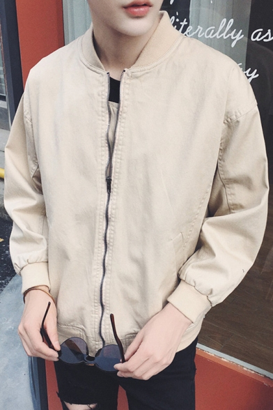 Letter Print Stand-Up Collar Zip Up Long Sleeve Baseball Jacket