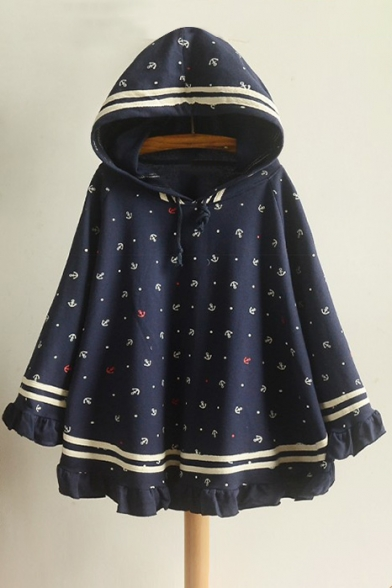 with Fashion Print Striped Cape Long Hood Cartoon Sleeve New nF0Spdwq0