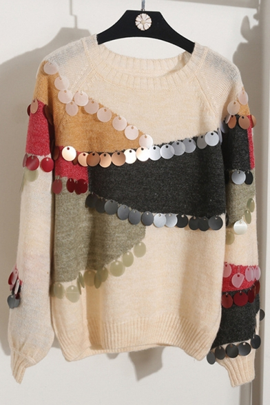 Fashion Beading Pullover Block Embellished Color Round Sleeve Long Sweater New OwSqxTCS