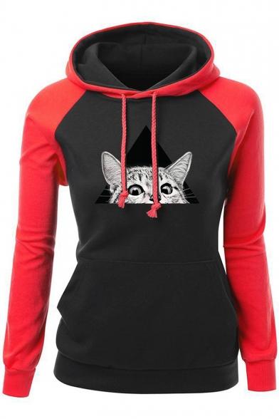 New Cat Color Long Block Sleeve Cartoon Print Fashion Hoodie BPOvrxqwBc