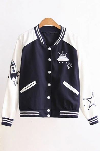 Coat Baseball Color Block Long Collar Stand Fashion Up New Sleeve Cartoon Embroidered PUxvRqB