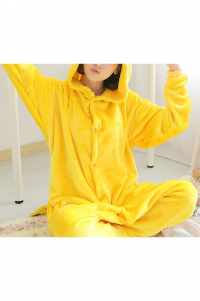 New Fashion Lovely Cartoon Design Hooded Striped Long Sleeve Buttons Down Jumpsuit