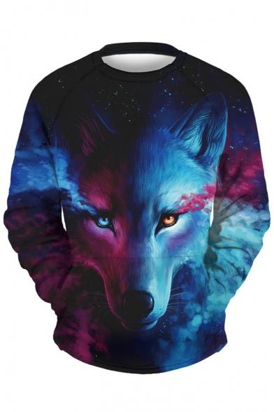 Pullover Wolf Sweatshirt Long Sleeve Starry Fashion Print Neck New Round 1x8FSwfxq