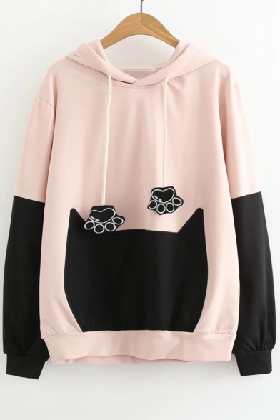 New Leisure Color Block Paw Cat Long Sleeve Hoodie
