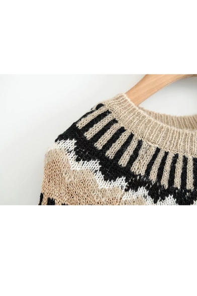 Neck Sleeve New Sweater Long Round Patterned Wave fqwOx6gaZ