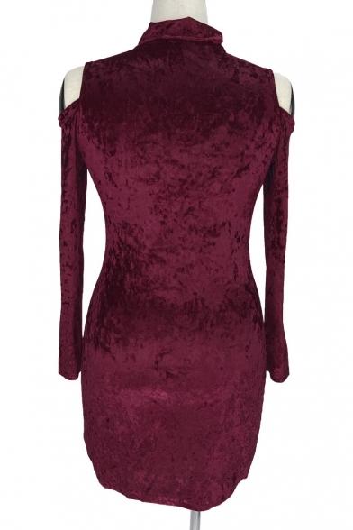 New Stylish Cold Shoulder Long Sleeve Plain Keyhole Front Mini Dress