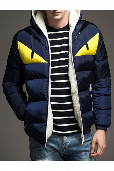 New Stylish Color Block Print Long Sleeve Zip Up Hooded Padded Coat