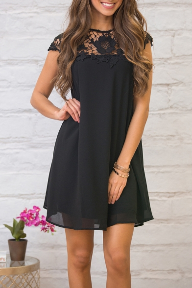 New Stylish Round Neck Cutout Detail Simple Plain Dress