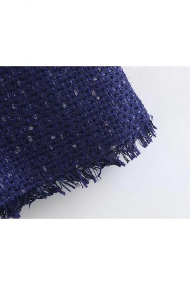 New Stylish Tassel Embellished Trim Belted Waist Mini Wrap Dress
