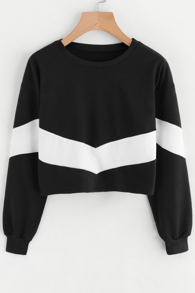 Simple Color Block Round Neck Long Sleeve Pullover Cropped Sweatshirt