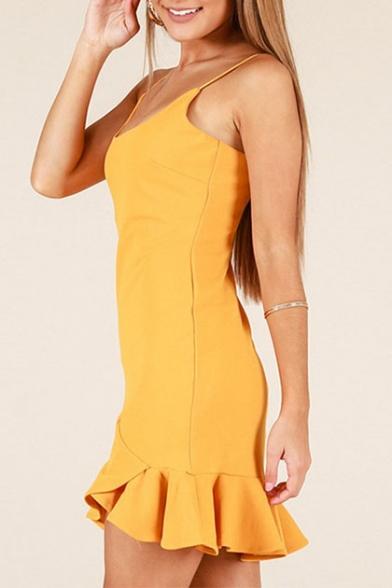 Simple Plain Square Neck Straps Ruffle Hem A-Line Mini Dress