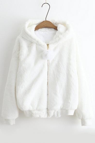 Simple Plain Zip Placket Long Sleeve Hooded Warm Coat