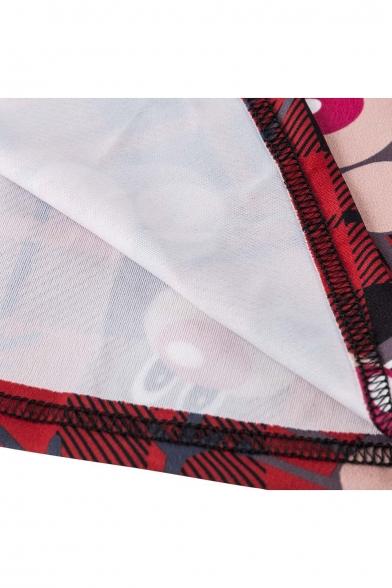 Stylish Round Neck Long Sleeve Lace Panel Dress