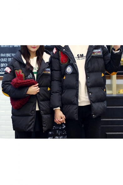 Unisex Color Block Letter Appliques Long Sleeves Button-Down Zippered Hooded Quilted Coat