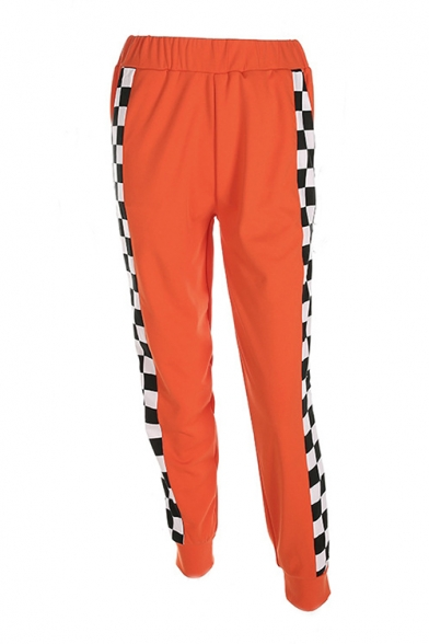 Chic Color Block Plaid Print Elastic Waist Zipper Side Pants