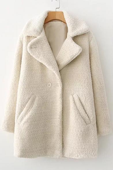Chic Simple Plain Notch Lapel Long Sleeve Faux Fur Coat