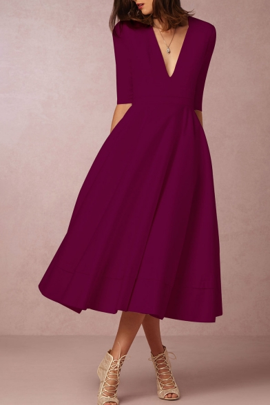 14239d3011b3 ... Elegant Plunge Neck Half Sleeves A-line Plain Midi Dress ...