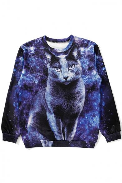 Fashion Cat Print Long Sleeve Loose Pullover Sweatshirt