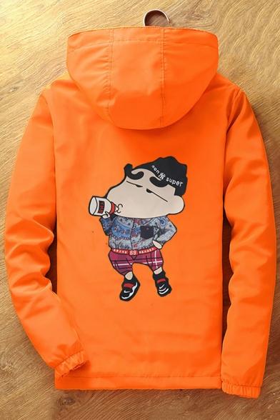 Funny Cartoon Print Hooded Zip Up Long Sleeve Coat