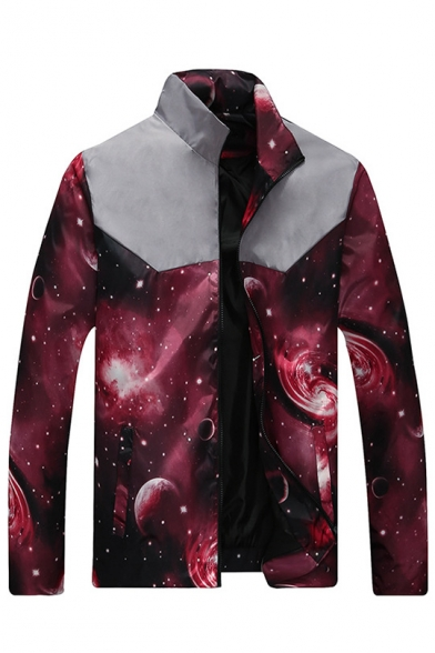 Galaxy Printed Color Block Stand-up Collar Long Sleeves Zippered Jacket with Pockets
