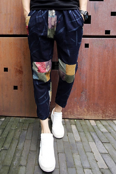 Leisure Color Block Drawstring Waist Pants