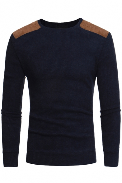 Мужская мода шею длинными рукавами пуловер свитер