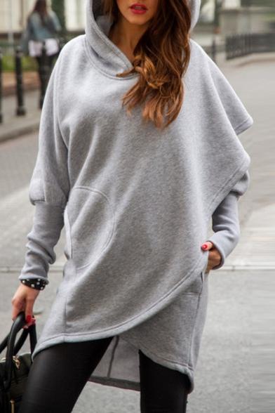 New Fashion Simple Plain Asymmetric Hem Long Sleeve Hoodie