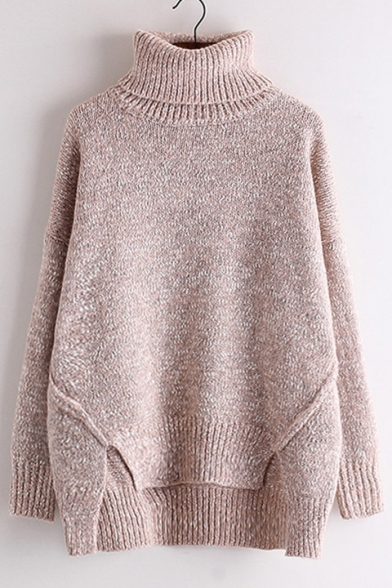 Long New Turtleneck Pullover Sweater Leisure Sleeve Plain rzqtrxECw