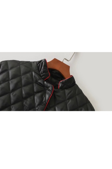 New Stylish Contrast Trim Long Sleeve Stand-Up Collar Padded Coat