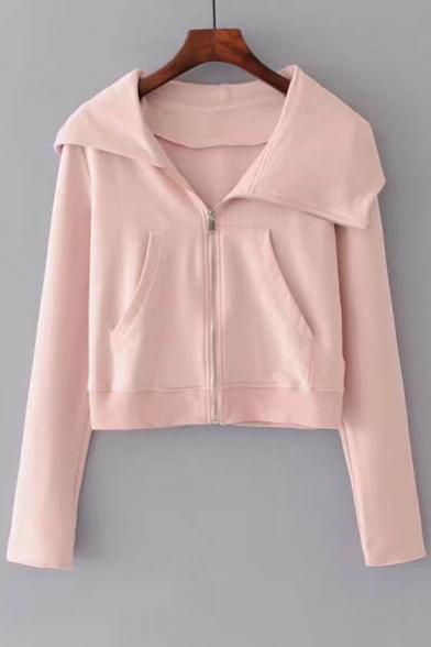New Stylish Long Sleeve Zip Up Simple Plain Cropped Hooded Coat