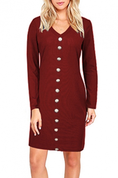New Stylish Single Breasted V-Neck Long Sleeve Simple Plain Dress