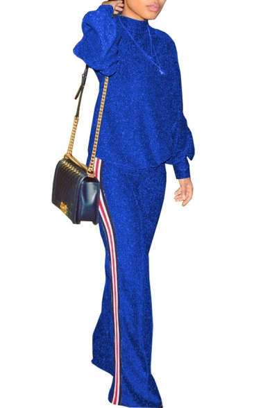 New Stylish Striped Side Long Sleeve Wide Leg Pants Co-ords