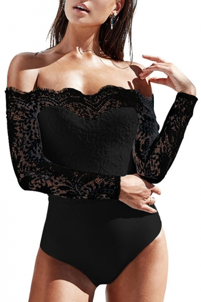 Lace Panel Sleeve Plain Sexy Off Long Bodysuit Shoulder The 6xzwaqC