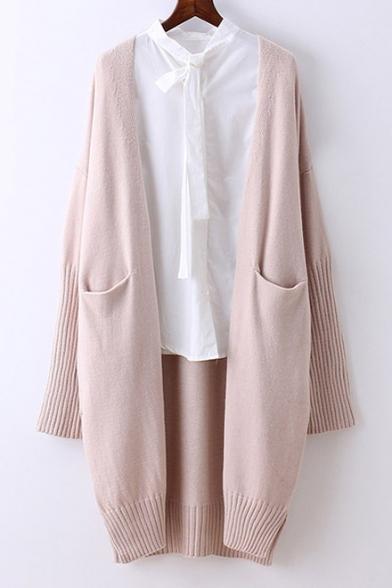 Simple Plain Open Front Long Sleeve Longline Cardigan