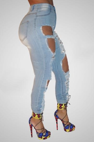 Stylish High Waist Skinny Ripped Ankle Grazer