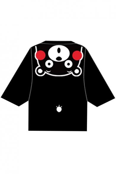 Adorable Bear Cartoon Printed Half Sleeves Tie-Front Kimono Top