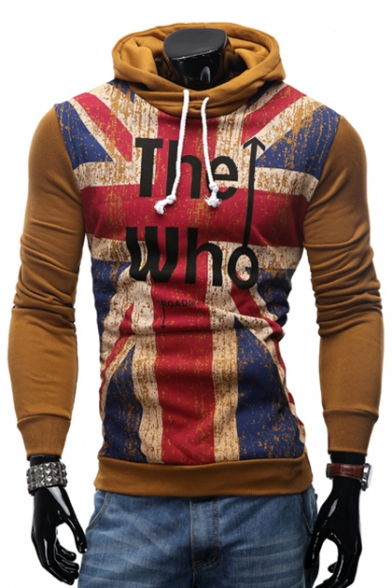 British Style Flag Letter Printed Long Sleeves Pullover Hoodie with Drawstring